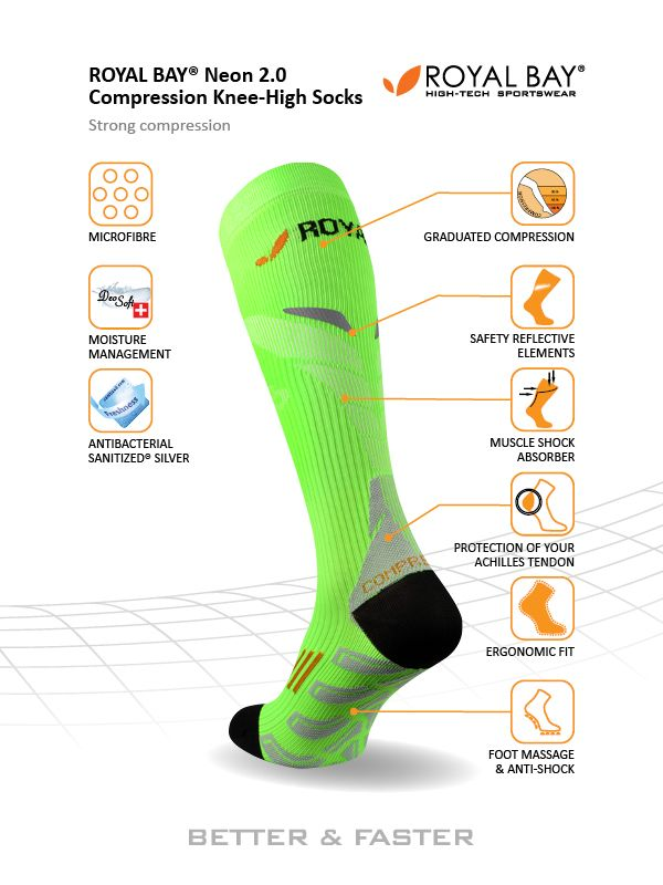 b1ce2223c79 Knee-socks ROYAL BAY® Neon 2.0 are anatomically shaped